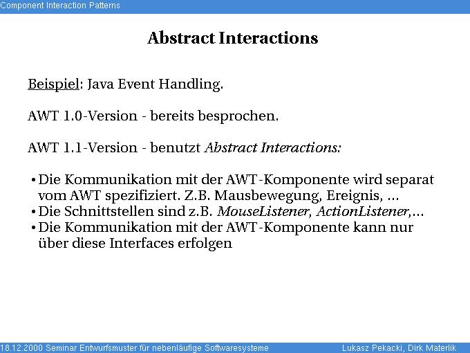 Komponenteninteraktionsmuster - Abstract Interactions ...  Komponenteninte...
